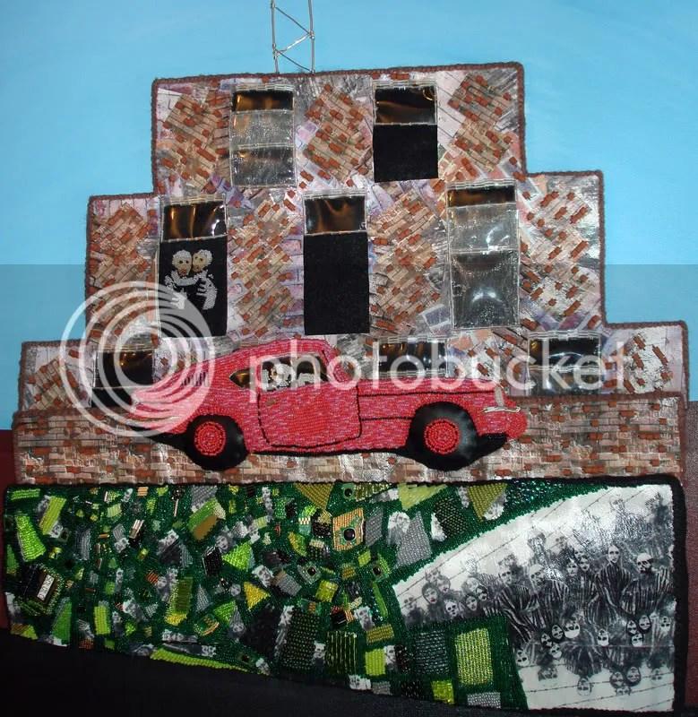 Beaded Banksy pink car. Brick Lane, London. Graffiti street art. 3D bead embroidery.