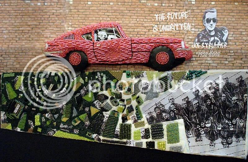 Joe Strummer - The Clash punk rock graffiti. Bob Marley. Banksy Pink car. Brick Lane, London.