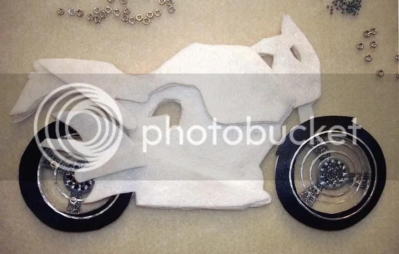 beaded Buell X1 Lightning motorcycle pop art beadwork Boston bead embroidery bike nuts washers wheels
