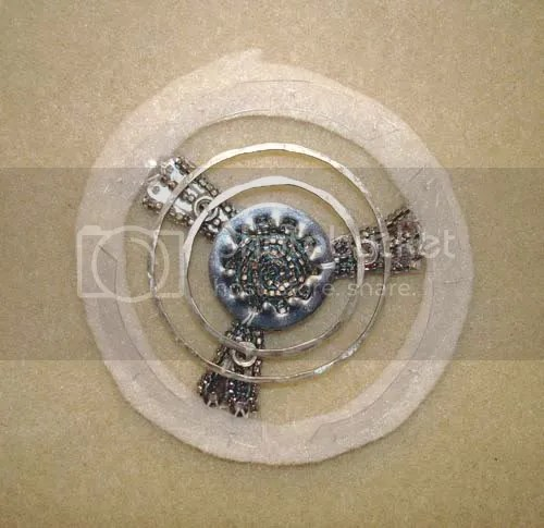 beaded Buell motorcycle pop art beadwork Boston bead embroidery bike wheels nuts washers