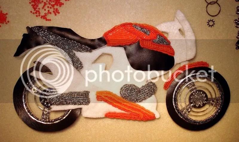 beaded Buell motorcycle pop art beadwork bead embroidery pop art Boston