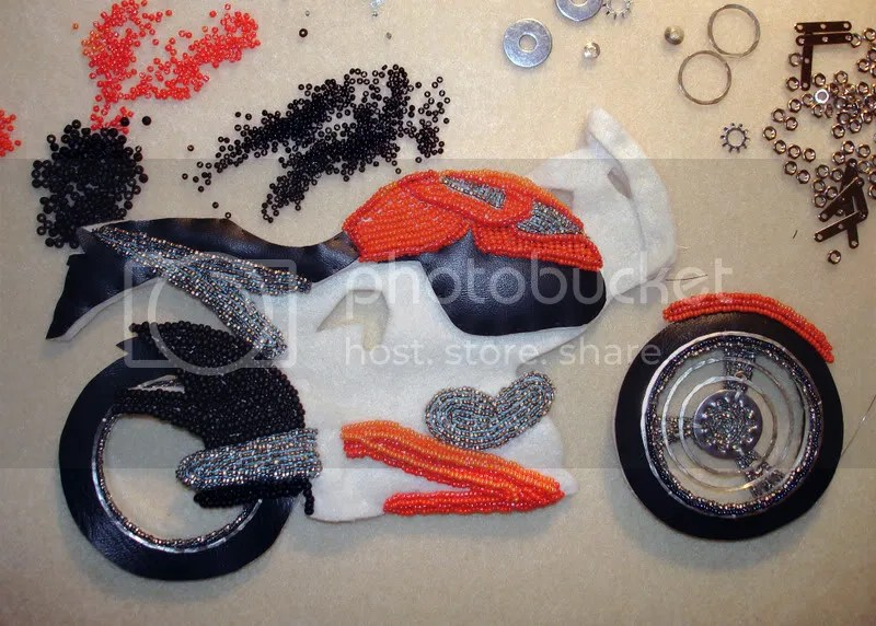 beaded Buell motorcycle pop art beadwork bead embroidery pop art Boston