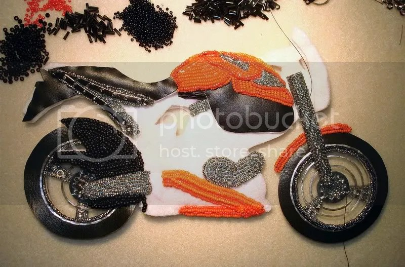 beaded Buell motorcycle pop art beadwork bead embroidery pop art beading blog