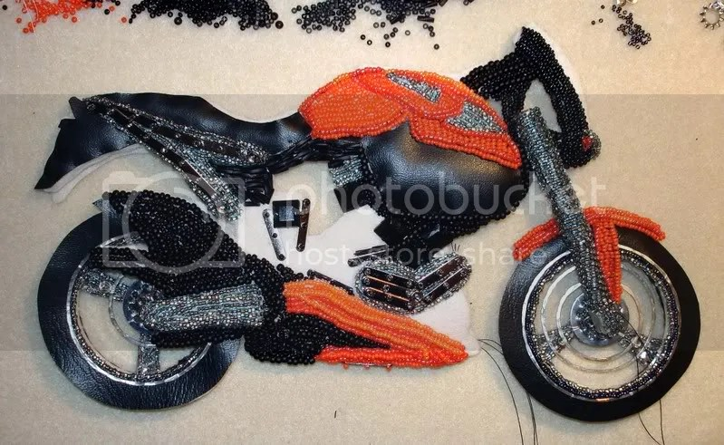 beaded Buell X1 Lightning motorcycle bead embroidery glass plastic beading blog pop art Boston