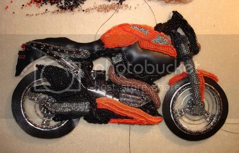 beaded Buell X-1 Lightning exhaust motorcycle bead embroidery blog pop art