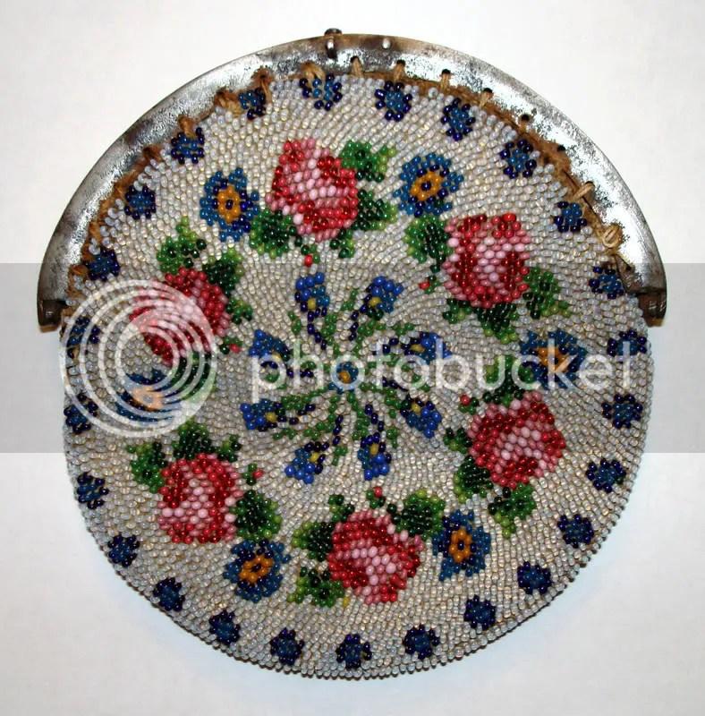 Czech glass beads antique beaded handbag coin purse seed beads knitted crowns Prague Praha 1800s