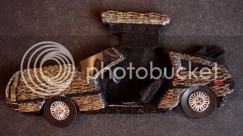 beaded John Delorean DMC-12 bead embroidery pop art beadwork fiber car artist