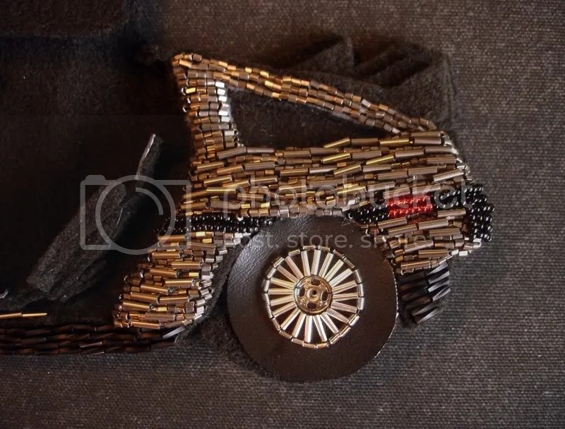 beaded John Delorean DMC-12 bead embroidery pop art beadwork fiber car wheels tires