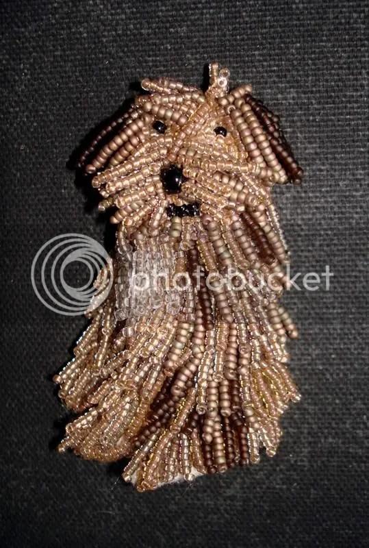 beaded Einstein Polish Lowland Sheepdog Back to the Future bead embroidery pop art