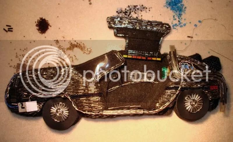 Titanium beading needle bead embroidery pop art DeLorean car beaded