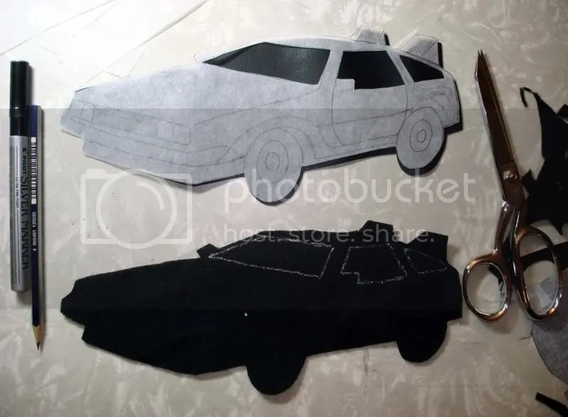 Felted Beaded Back to the Future DeLorean car pop art bead embroidery artist