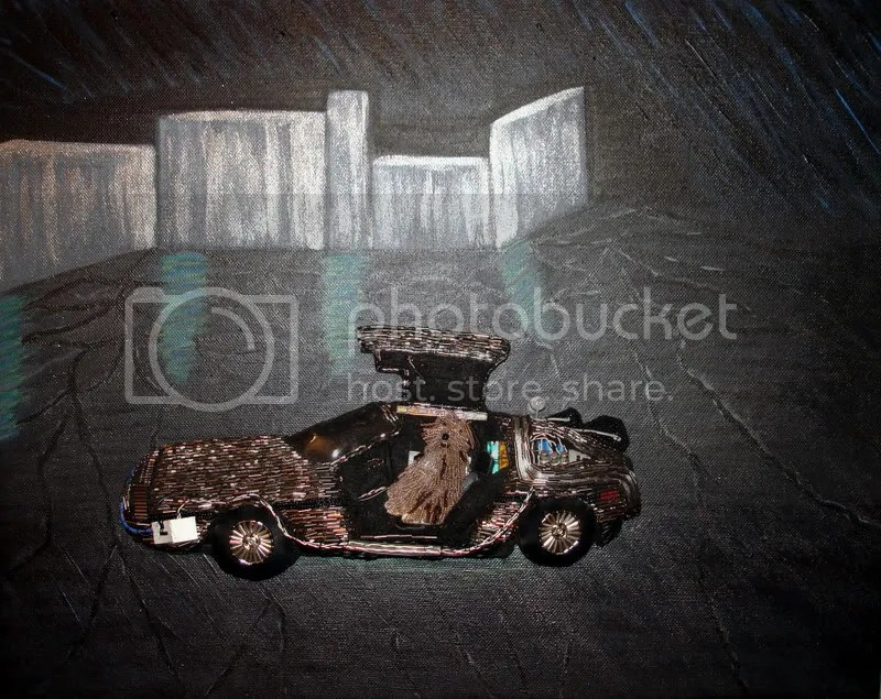 Back to the Future car DeLorean acrylics black painting pop art bead embroidery