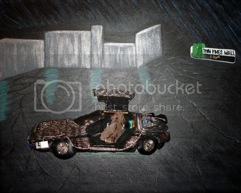 Back to the Future car DeLorean pop art painting beaded Einstein dog Twin Pines Mall