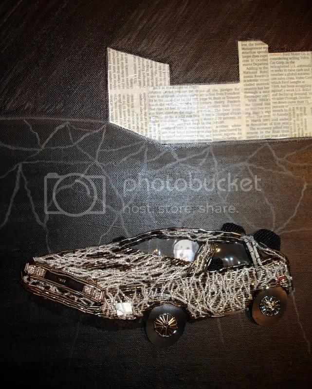 beaded Back to the Future pop art painting Boston Globe newspaper collage US car industry economy