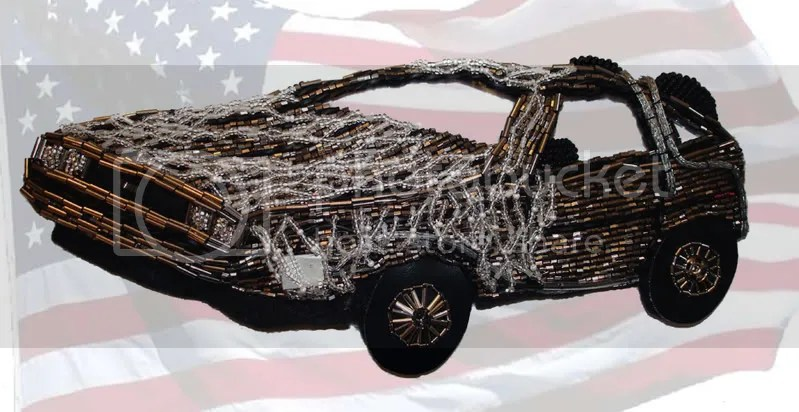 beaded Back to the Future car DeLorean pop art Barack Obama Election Night speech American flag 2008 Wordless Wednesday