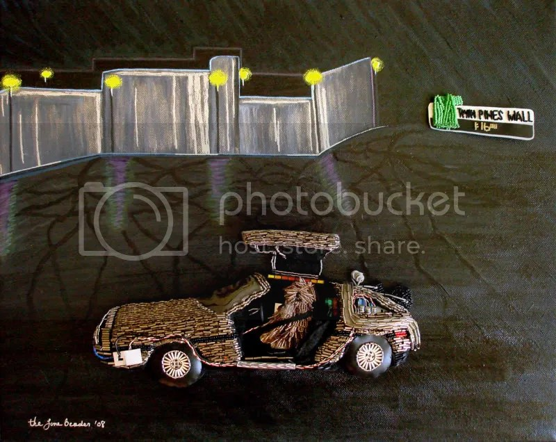 Beaded Back to the Future DeLorean mixed media painting. Bead embroidery triptych.