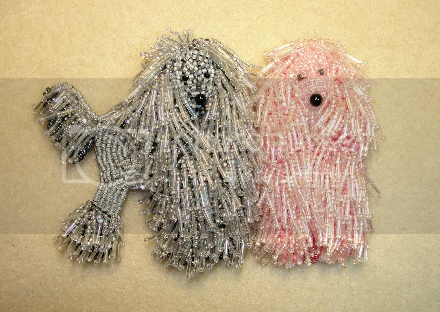 Micro maco beads beaded pink gray corded poodles dog collar bead embroidery