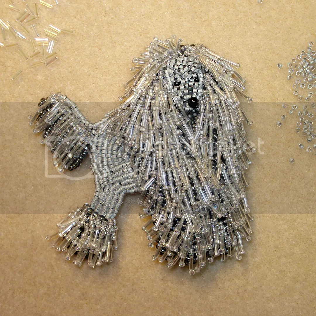 micro bugle beaded corded poodle dog collar necklace etsy bead embroidery