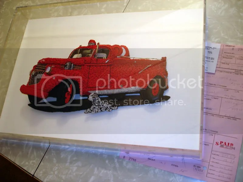 Fine pop art Beader Beaded embroidery Chevy Fire truck engine Bead International Stanhope framers Boston custom shadowbox