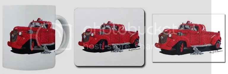 Classic Antique car 43 1943 Chevy fire truck engine co. 6 Erie Boston artist apparatus beaded pop art