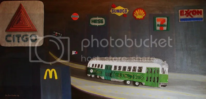 Beaded Boston trolley subway T citgo Celebrating beads embroidery pop art museum lone beader Gasoline District