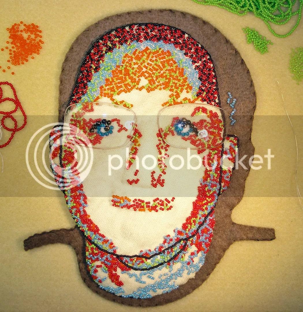 freeform bead embroidery portrait progress etsy free shipping small business saturday