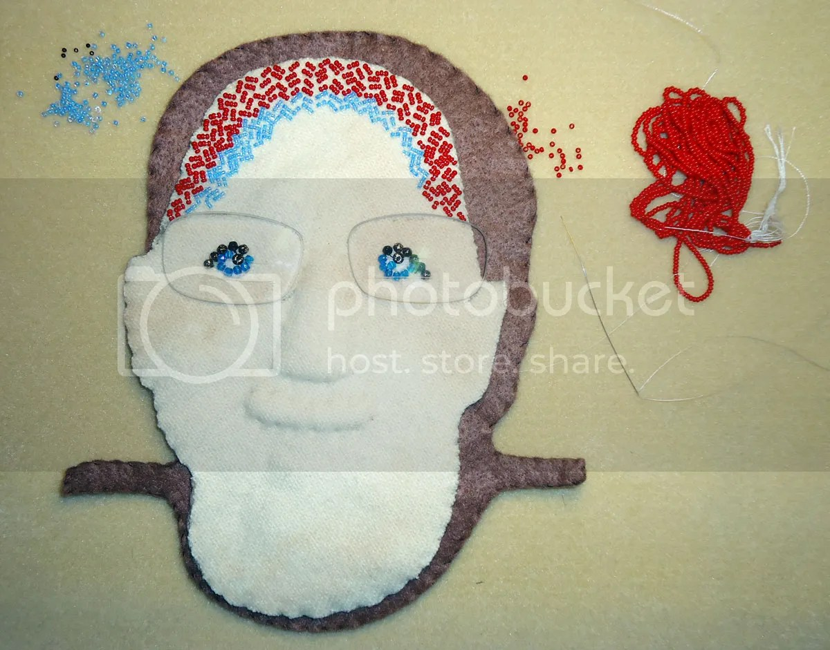 Lazy Stitch beadwork beaded portrait face seed beads eyeglass lenses pop relief
