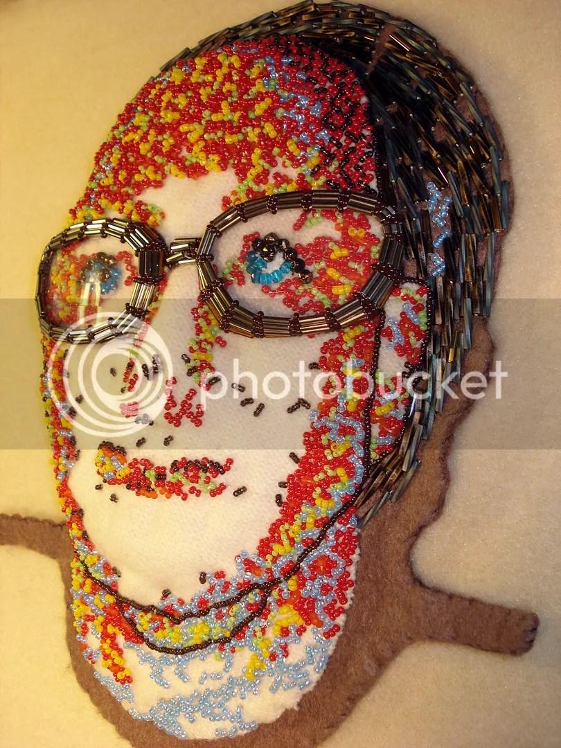 Beaded portrait fiber art bead embroidery eyeglasses lenses frames beads optical shop