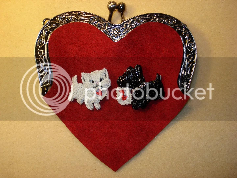 beaded cat scottie dog heart shaped purse bead embroidery etsy custom order
