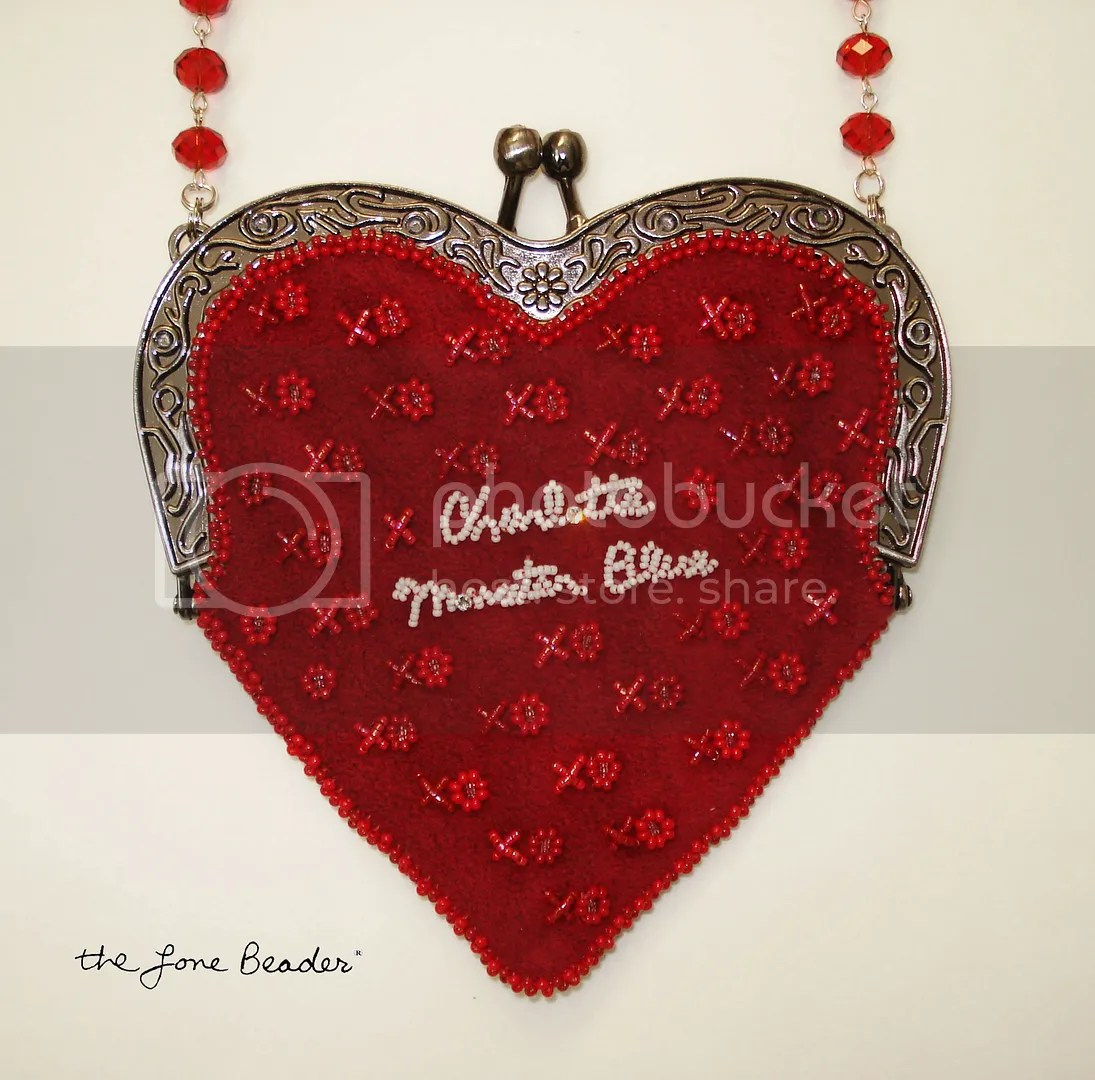 beaded heart-shaped purse bead embroidery etsy custom order Valentine's Day