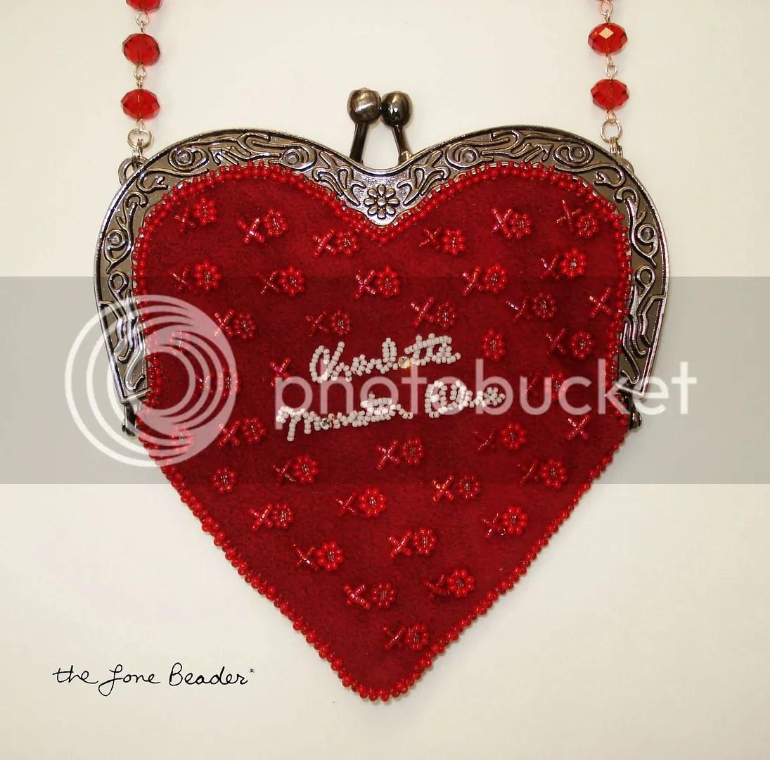 beaded heart-shaped purse bead embroidery etsy custom order Valentine's Day