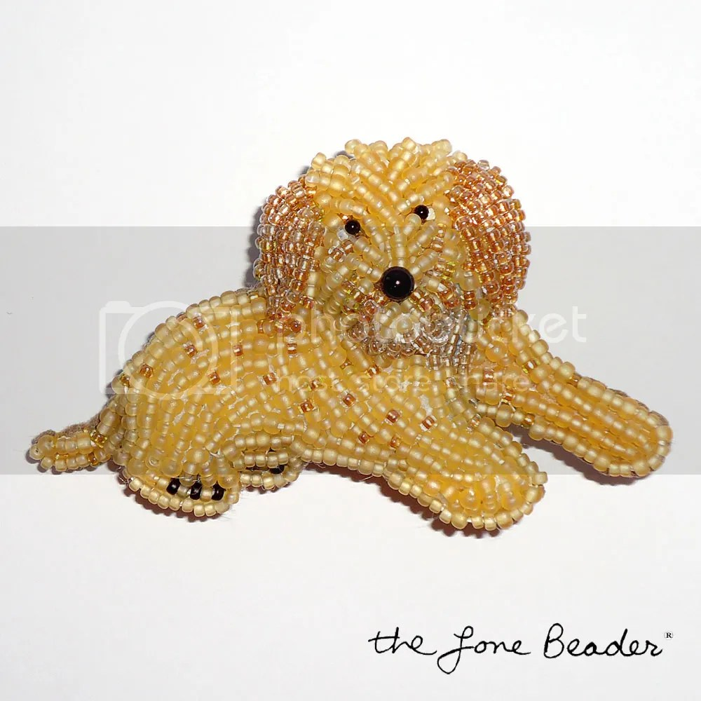 beaded Labradoodle pin pendant Golden Retriever, Golden Doodle, Cockapoo, etsy bead embroidery beadwork