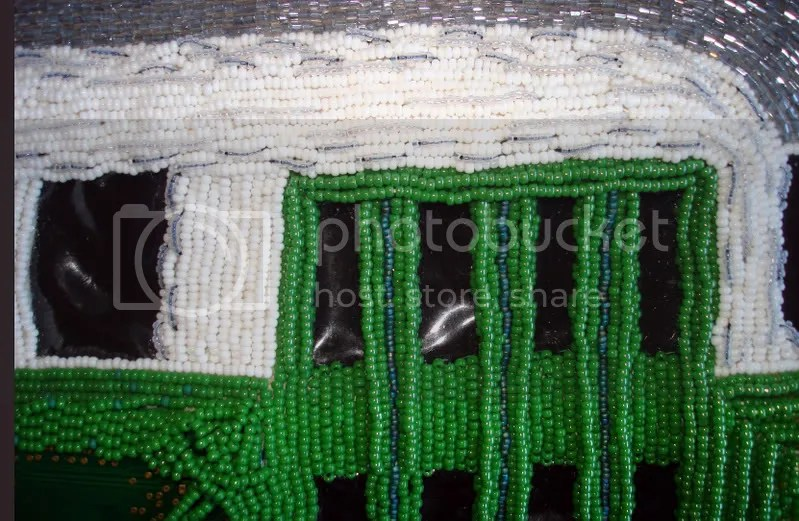beaded Boston green line trolley mbta T bead embroidery pop art beadwork mixed media train artist