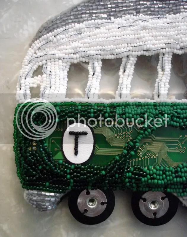 beaded boston trolley car T mbta bead embroidery 3D pop art beader seed beads felt mixed media