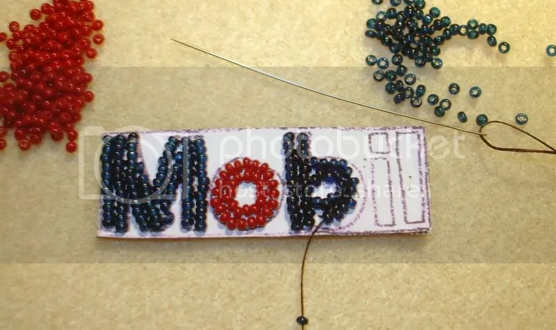 Beaded Boston trolley MBTA Citgo Mobil gas station prices sign T bead embroidery artist pop art petrol