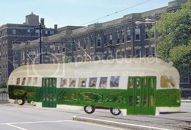 Beaded Boston trolley Jennifer Trynin Book Better than nothing MBTA T bead embroidery pop art beadwork