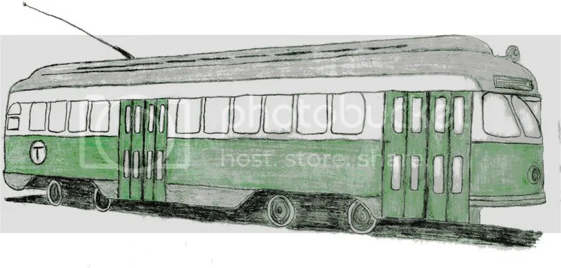 Lone Beader Beaded Boston green line trolley subway train sketch bead embroidery pop art MA Pullman standard car