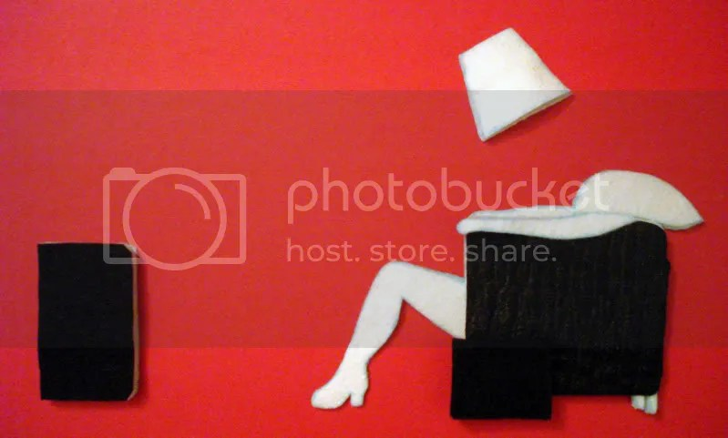 Hitachi Maxell Blown Away Guy. 1980's Chair Girl. Beaded Pop Art Self Portrait.