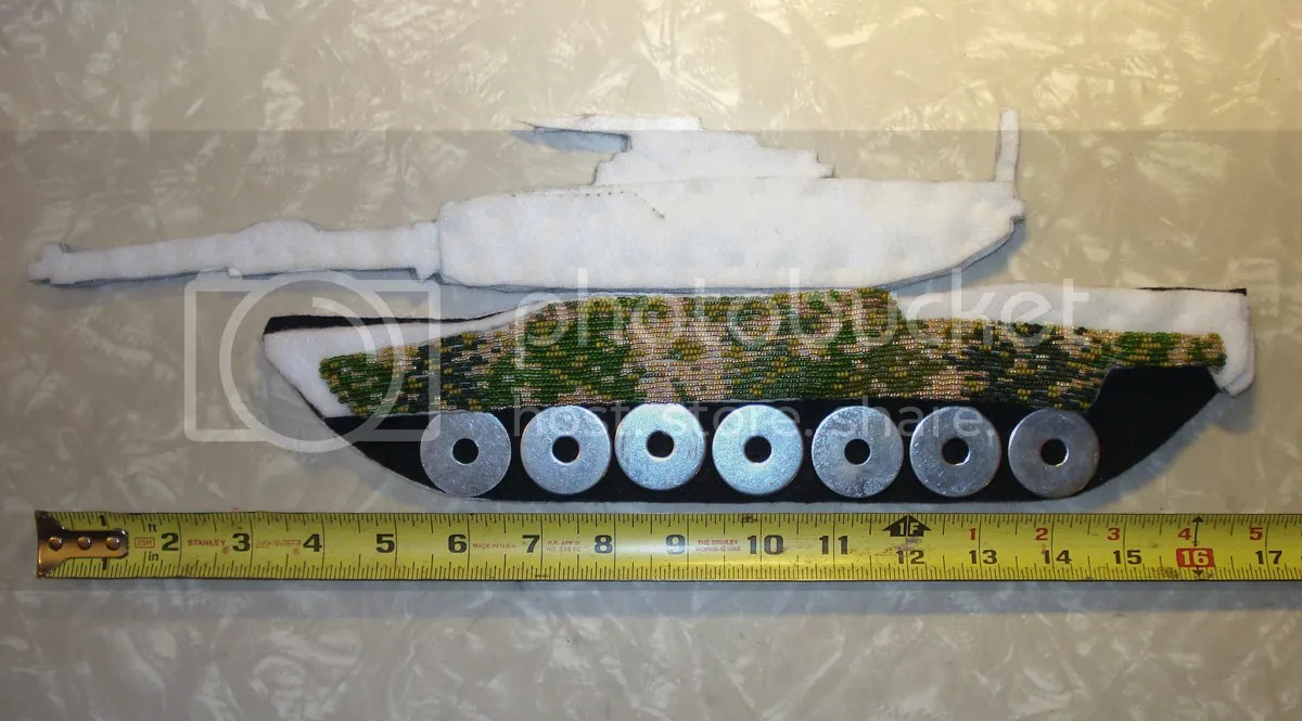 beaded camo camouflage print M1 Abrams tank Afghanistan U.S. military war bead embroidery