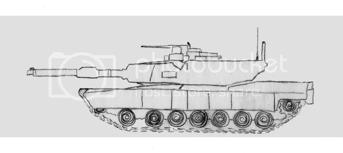 U.S. Military M1 Abrams main battle tank sketch drawing bead embroidery project