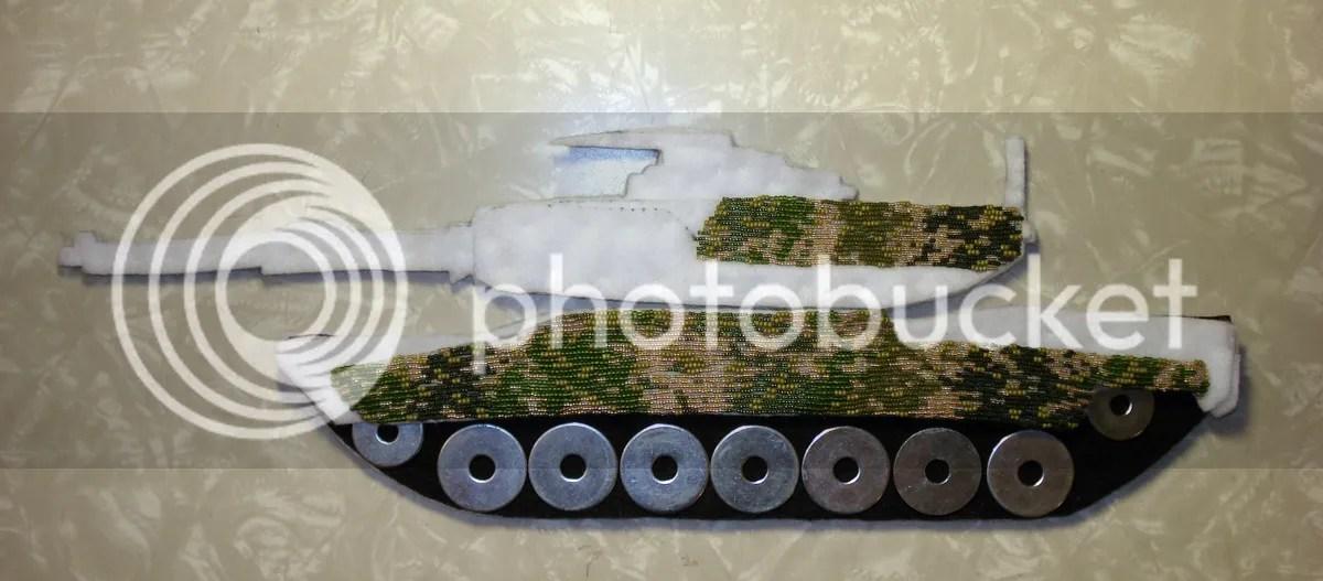 beaded camo camouflage print M1 Abrams tank Afghanistan U.S. pop art war bead embroidery