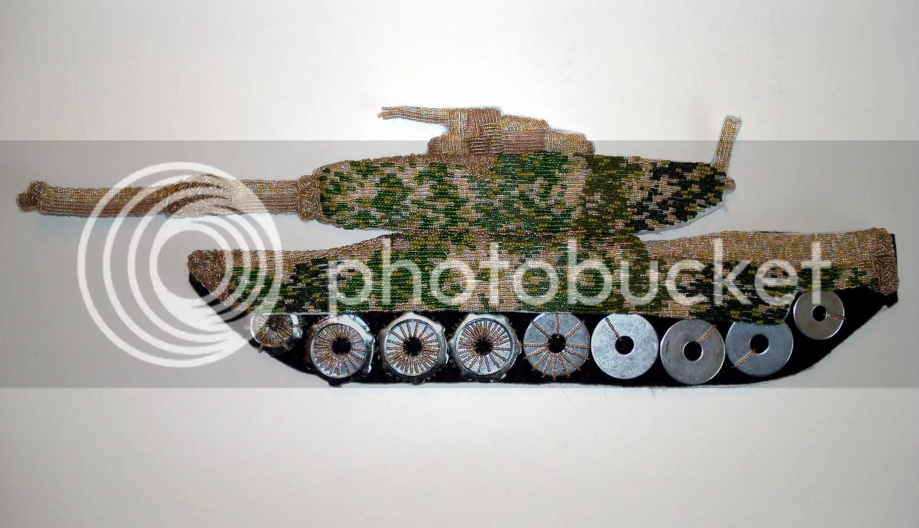 beaded camo camouflage print military Afghanistan Boston artist U.S. pop art war bead embroidery