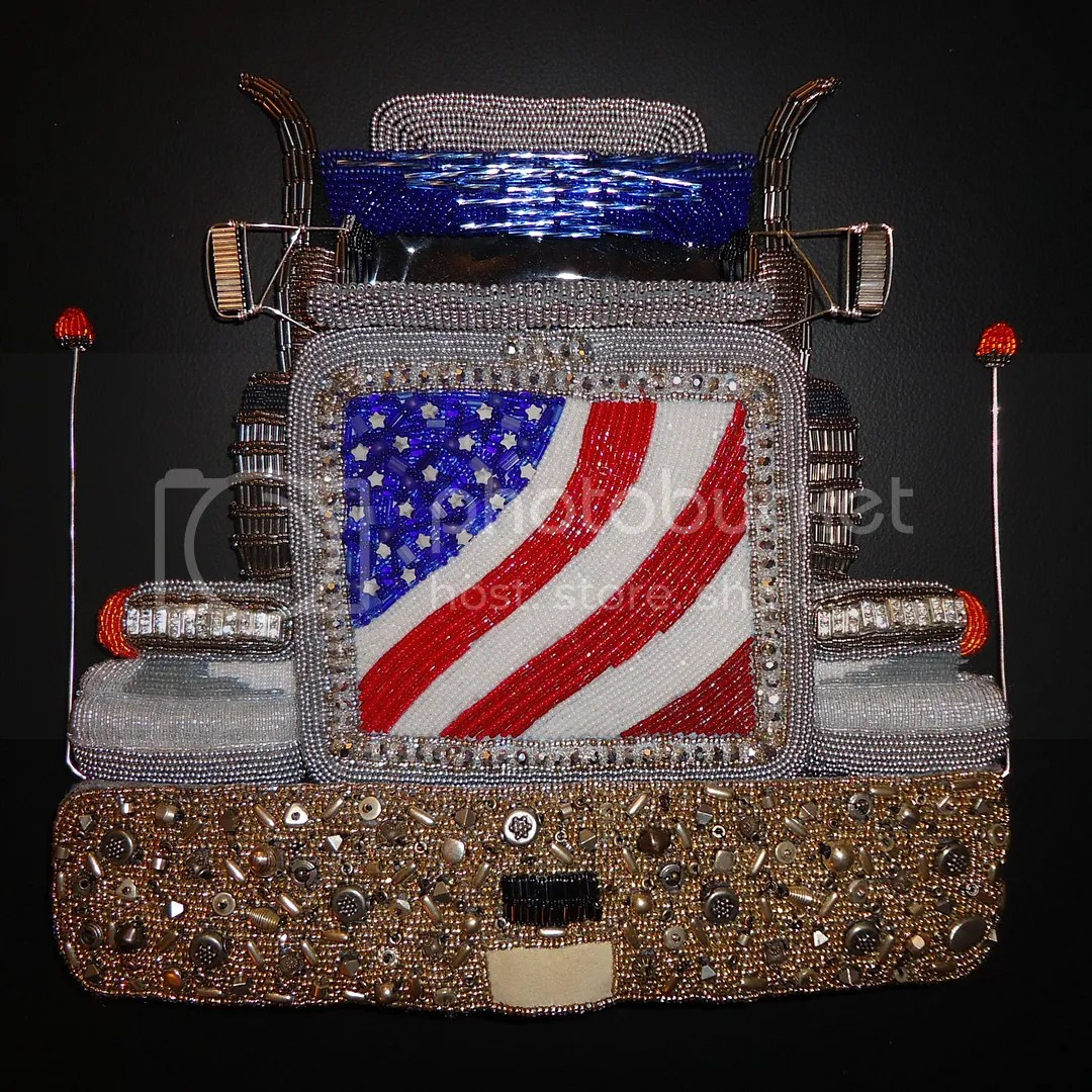 semi beaded peterbilt truck usa etsy bead embroidery beadwork coupon sale