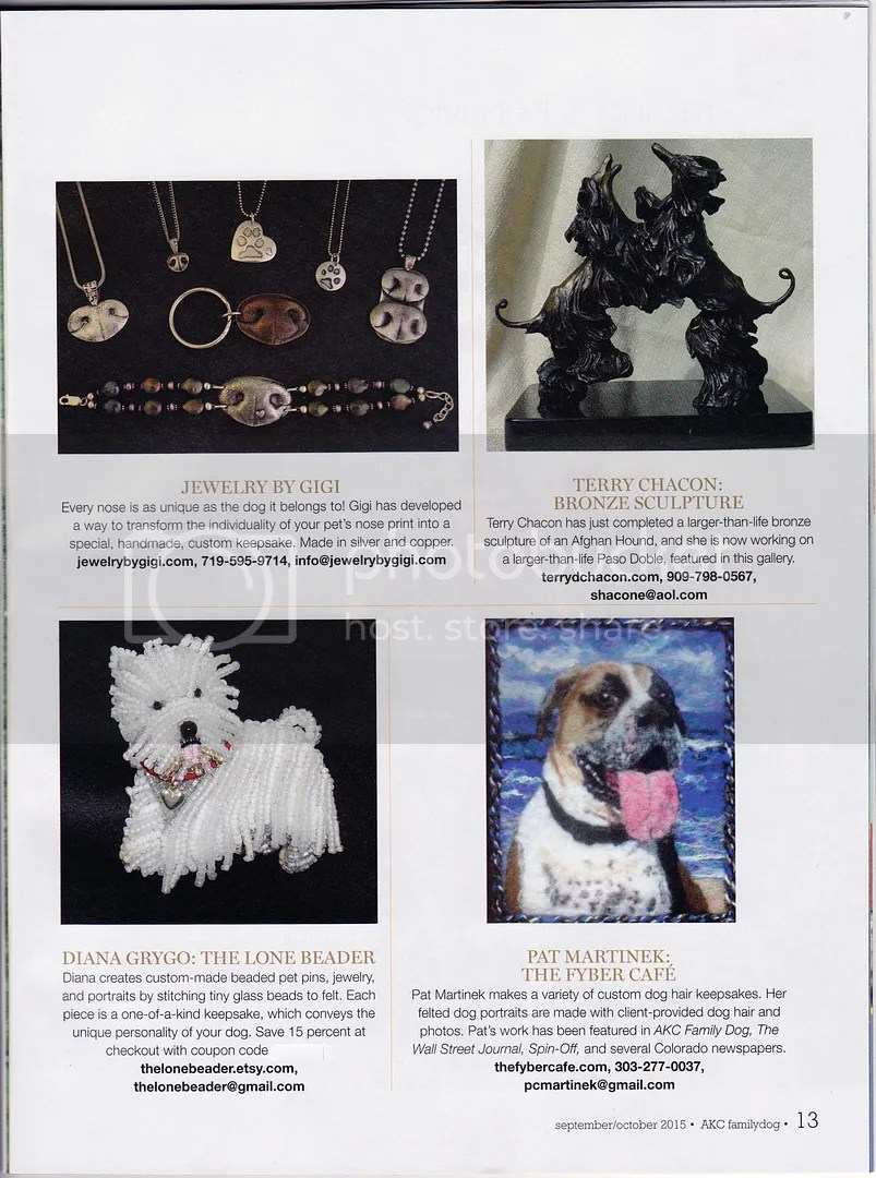 AKC Family Dog Magazine Sept Oct 2015 Canine Art Galleries Etsy Bead Embroidery Westie