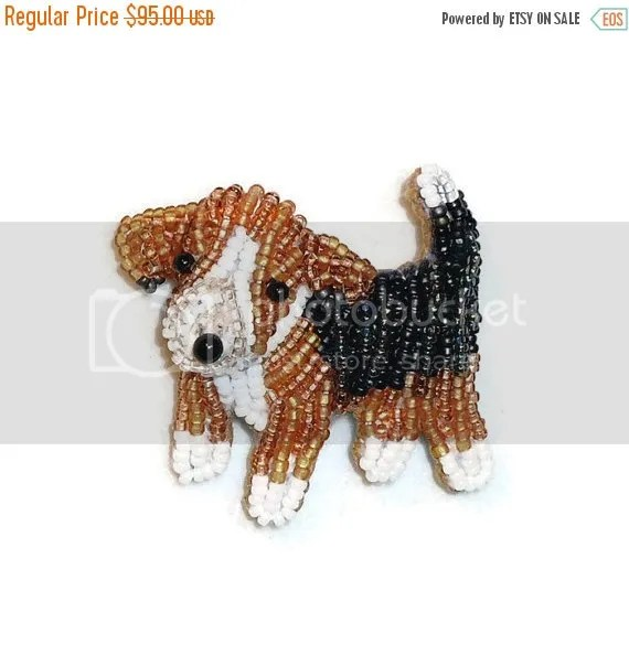 Tiny Beaded Beagle Jewelry Bead Embroidery Veteran's Day Sale Etsy Amazon Handmade