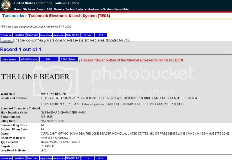 federal trademark electronic search system United States Patent & Trademark Office The Lone Beader bead embroidery artist