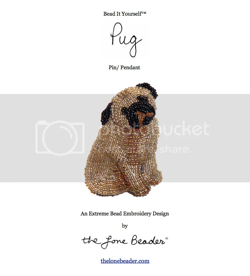 beaded Pug dog bead embroidery pin etsy beading pattern instructions PDF file download