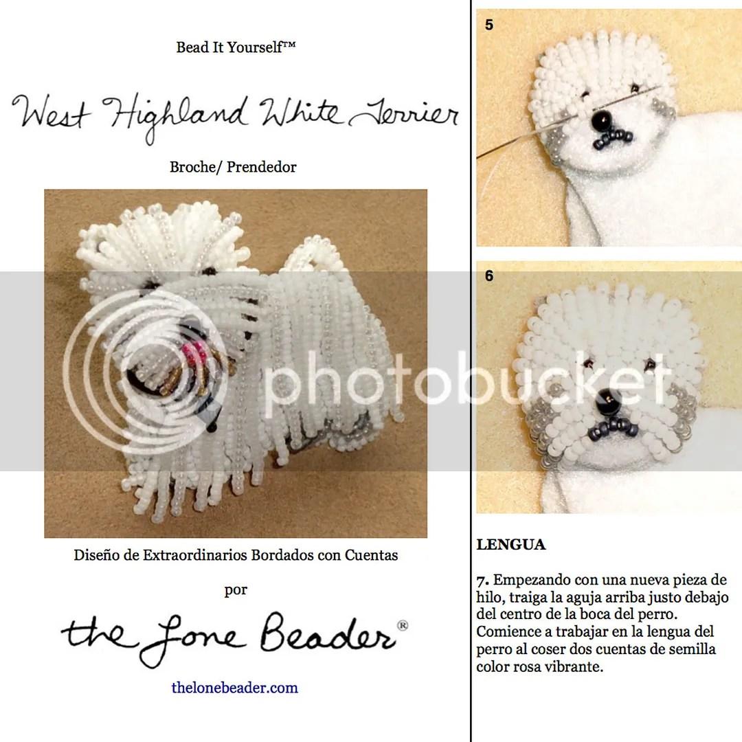 PDF: WESTIE Tutorial de bordado con cuentas del prendedor o pendiente de perro - West Highland White Terrier  Etsy Patrón en español