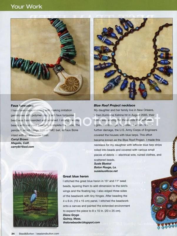 Bead & Button Magazine -Your Work- December 2007. Diana Lynn Grygo. The Lone Beader. Great Blue Heron. Bird watching.