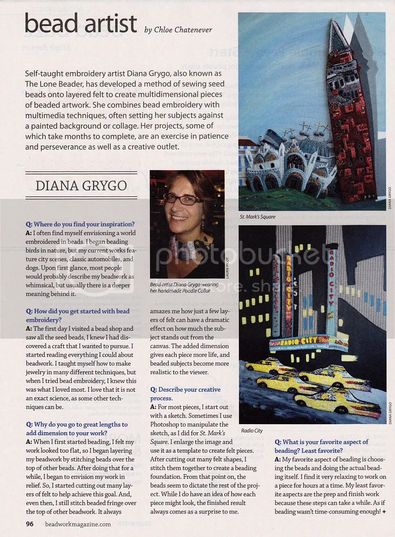 Bead Artist Beadwork Magazine March 2013 Interview Diana Grygo The Lone Beader Beading Daily